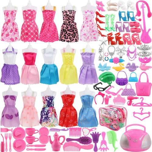 106Pcs Barbie Doll Clothes Accessories Huge Lot Party Gown Outfits Girl Gift Set