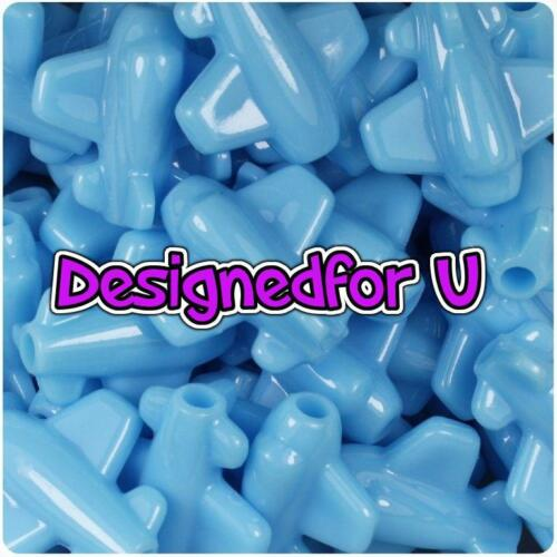 BACK IN STOCK 6 x 25mm Baby Blue Opaque Planes Shape Pony Beads