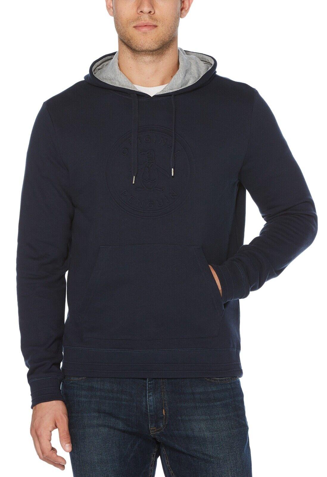 Original Penguin Hooded Embossed Stamp Sweatshirt Dark Sapphire Casual Sweat Top     Nutzen Sie Materialien voll aus