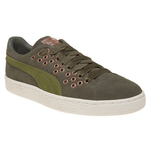 0b1a609da9ed87 Womens PUMA Suede XL Lace Olive Night Velvet Rope Trainers Shoes UK ...
