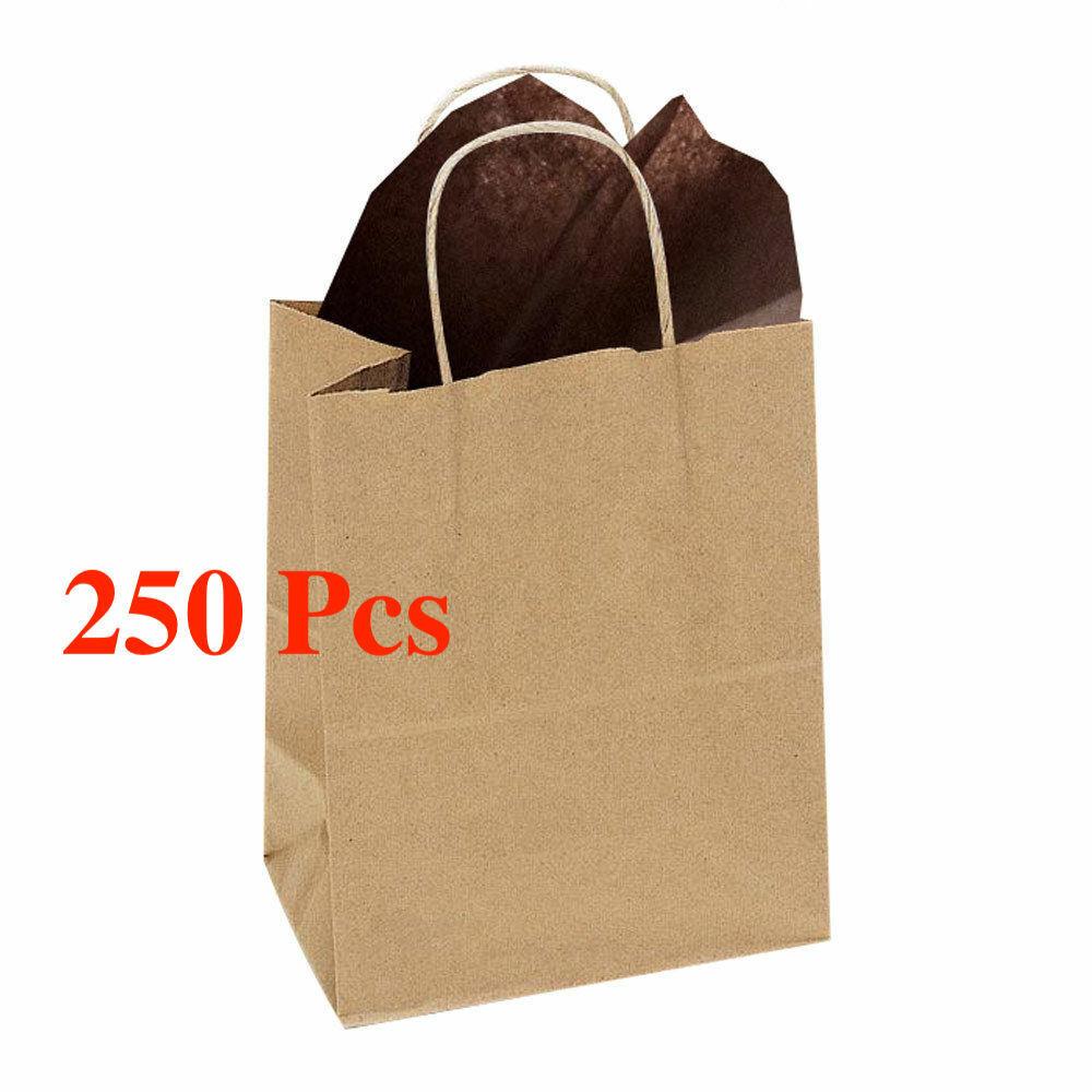 250 Pas Cher Marron Sacs Papier avec Poignées en Gros