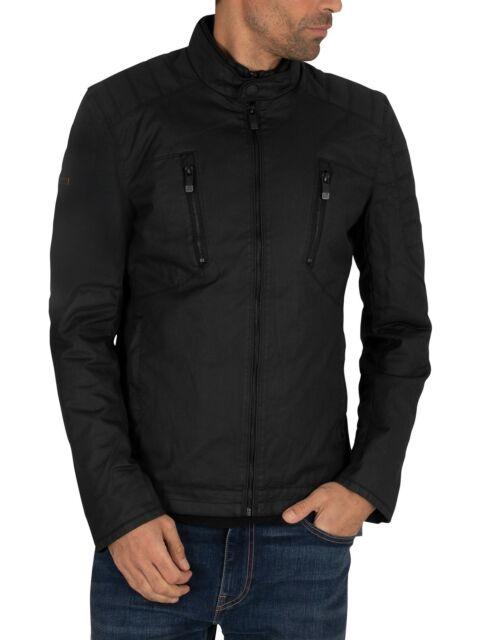 Superdry Men/'s Black City Microfibre Quilted Zip Jacket M50018RP