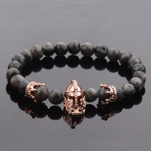 Hot Men Nature Stone Crown Spacer CZ Rose Gold Spartan Beads Bracelets Masculina