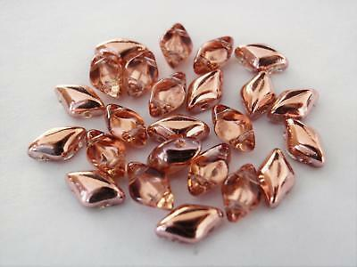 40 8 x 5 mm Czech Glass Gemduo Beads Apollo Gold