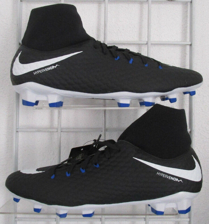 Men's Nike Hypervenom Phelon 3 DF Soccer Shoes, New Blk White Nikeskin Cleats 10