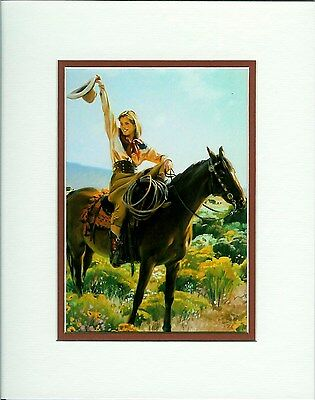 Howdy by Terri Kelly Moyers Cowgirl Horse Western Double Matted Fits 8x10 Frame