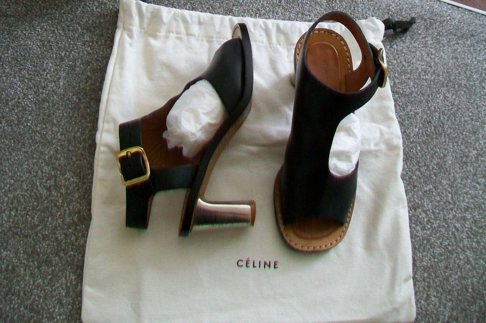 Celine -pelle  nera Bam sandali Bam.EU 37  37,5.Heel 6,5 cm.Usato.  il più alla moda
