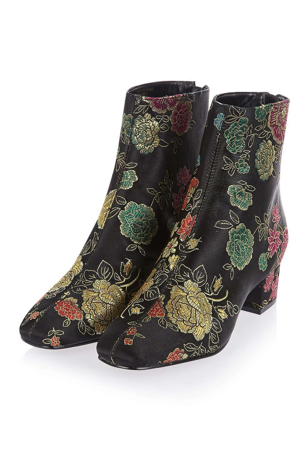 TOPSHOP FLORAL EMBROIDEROT ANKLE BOOTS SIZE UK 4 5