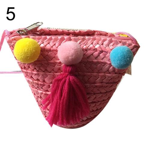 KID GIRLS STRAW BAG SUMMER BOHO SHOULDER BAG CROSSBODY BAG FLOWER TASSEL CHEER
