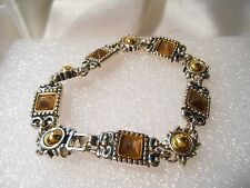 Premier Designs Fashion Costume Silver Tone Link Bracelet With Brown and Gold
