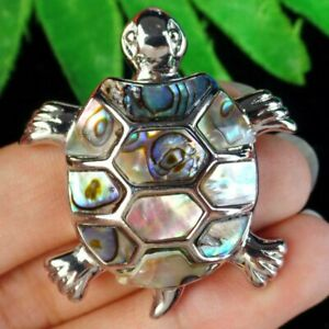 Carved Horn Turtle Pendant Inlaid With Abalone Shell