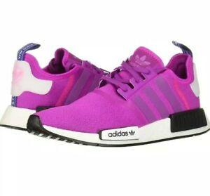 Adidas Nmd R1 Vivid Pink Womens Black White Purple Athletic Shoes