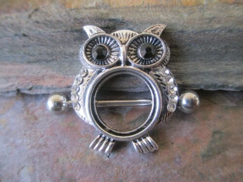Owl Black CZ Eyes Nipple Ring Shield Barbell Piercings Body Jewelry