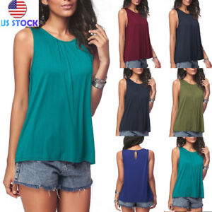 f5199225e6 Women Plus Size Swing Loose Tops Sleeveless Round Neck Solid Vest ...