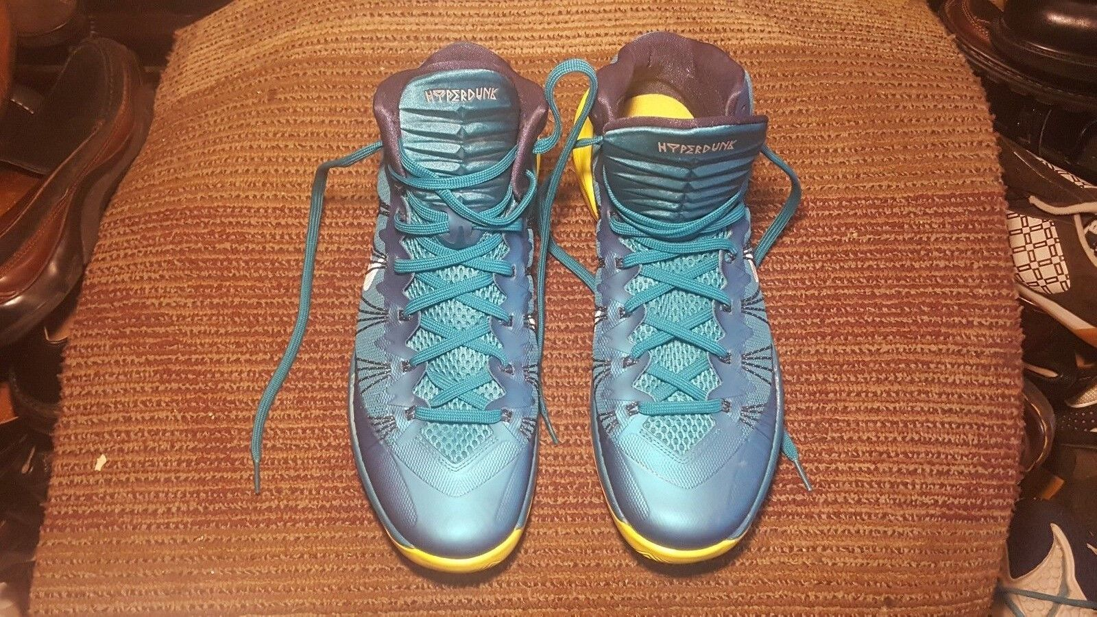 NEW NIKE HYPERDUNK MEN BASKETBALL SHOES US M M TROPICAL TEAL YELLOW