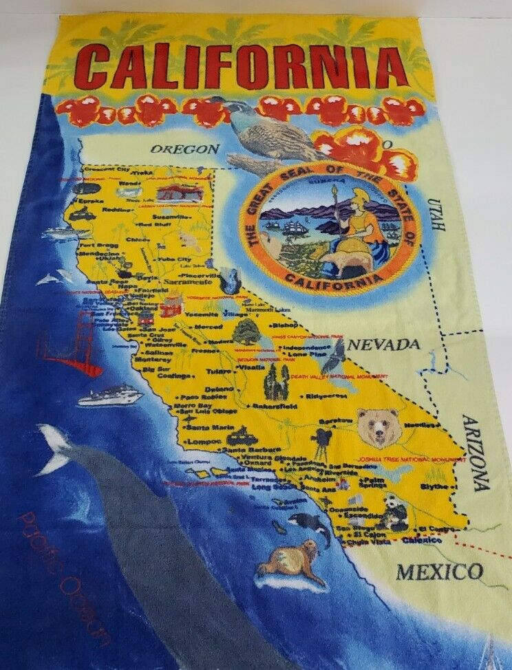 Kaufman Beach Towel California Map The Seal of California 27