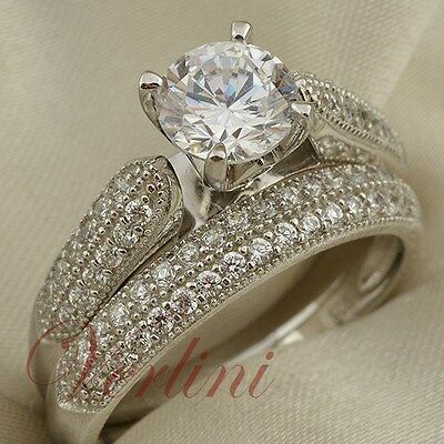 1.5 Ct Round Cut CZ AAA 925 Sterling Silver Wedding Ring Set Women's Size 5-10