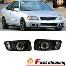 Fit 1999 2000 Honda Civic Clear Lens Led Bumper Drl Projector Fog Light Lamp