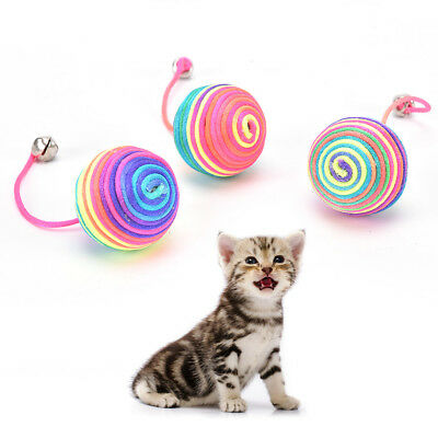 cat kitten dog pet colorful bell nylon ball playing toy gift chew squeaky toyF&F