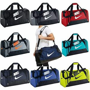 77f9aa093f93 Nike Brasilia 6 XS Small Medium Large Duffel Gym Bag Navy Black Grey ...