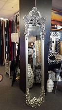 Französisch Shabby Chic Vintage Kunstvoll Wand Spiegel 200x45cm Antik Silber