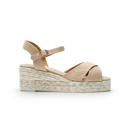 Castaner Women's Blaudell Beige Flatform Wedge 3cm Sandals Espadrilles Size 39