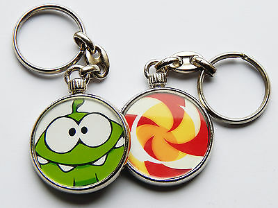CUT THE ROPE OM NOM Mobile Smart Phone Video Game Quality Chrome Keyring