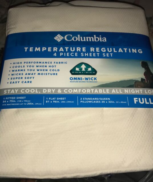 NEW COLUMBIA TEMPERATURE REGULATING QUEEN FULL 4 PC SHEET SET RAPID BLUE