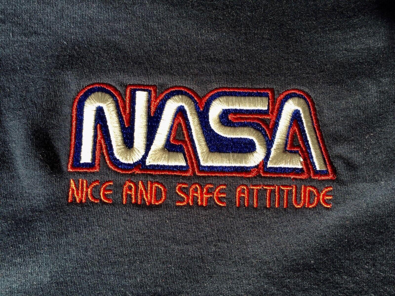Custom embroideROT retro logo Nice And Safe Attitude nasa 90's Rave T-shirt BNWT