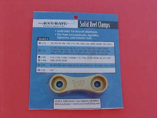 ACCURATE REEL CLAMP MODEL C-60 GOLD FOR VARIOUS PENN REELS /< />/< L@@KEE