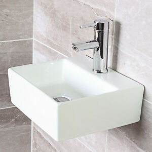 Details About Modern Square Ceramic Small Cloakroom Basin Wall Hung Corner Sink 335x295