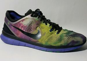 2077d11f0a1b NIKE FREE 5.0 TR FIT 5 Womens 9.5 M Black Green 704695 002 Tye Dye ...