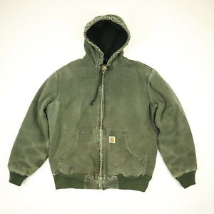 Carhartt-Hooded-Work-Jacket-Paint-Distressed-Faded-Olive-Green-Grunge-Skate-S