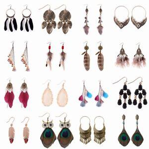 Women-039-s-Vintage-Bohemian-Bronze-Silver-Gold-Feather-Tassel-Hook-Drop-Earrings