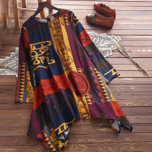 Plus Size Women Vintage Long Sleeve Crew Neck T-Shirt Boho Casual Blouse Tops