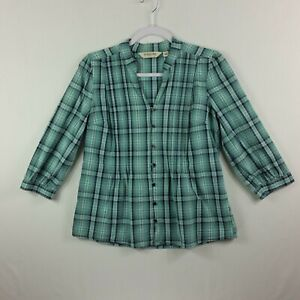 St-Johns-Bay-Womens-Button-Front-Top-PM-Green-Plaid-3-4-Cuff-Sleeve-Pleats