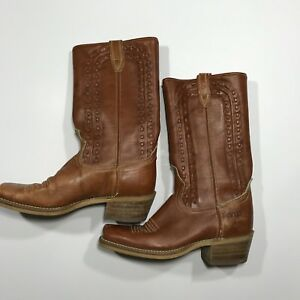 8d117410b13 Details about Womens Dingo Brown Leather Cowboy Boots, Size 6 D, Made In USA