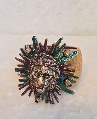 OSCAR DE LA RENTA Russian Gold-Tone LION HEAD BRACELET, BROWN GREEN ENAMEL, RARE