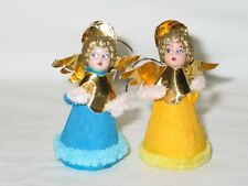 Vintage Christmas Spun Cotton Chenille Crepe Paper Angel Ornaments 1940's #1