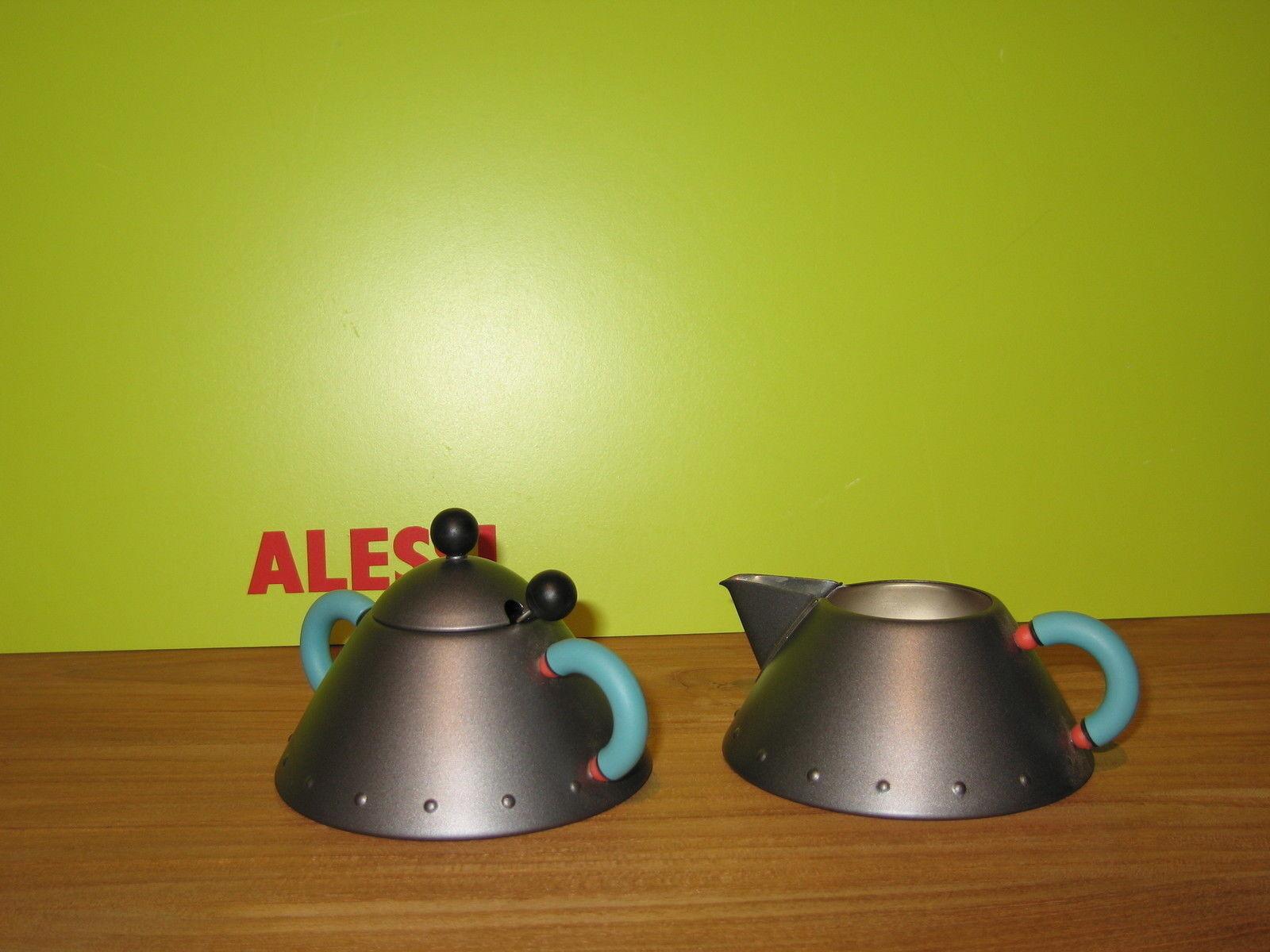 ALESSI NEW Set crémier sucrier noirs poignées bleues