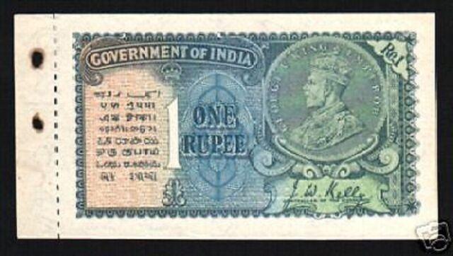 INDIA 1 RUPEE 14 B 1935 BRITISH KING GEORGE V *W/O PORTRAIT WMK BOOKLET NOTE UNC