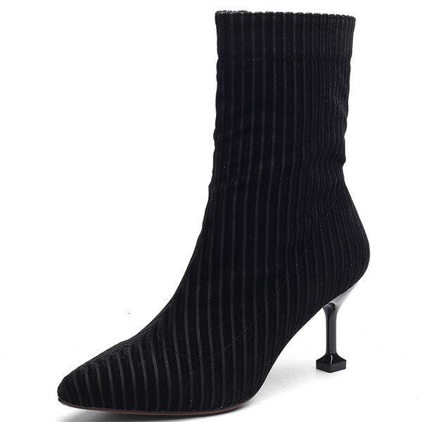 stivali stivaletti bassi scarpe stiletto nero 8 cm eleganti simil pelle 9730