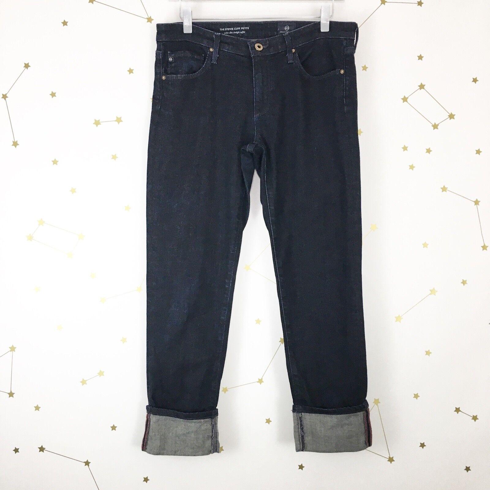 AG Adriano goldschmied Stevie Jeans Sz 29 Petite Dark Wash Slim Straight Cuffed