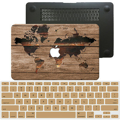 """World Map Painted Hard Rubberized Case Cover For Macbook Pro Air 11 13""""15""""12 +KB"""