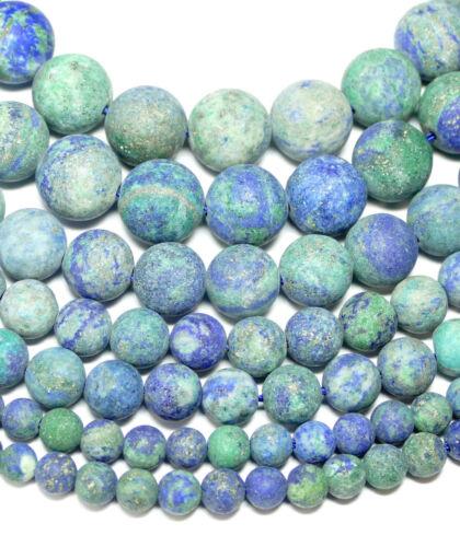 Chrysokoll Perles Boules Mat 4-14 mm 1 Strang Gemmes Bacatus #4108