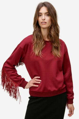 99 € Luxury by CNT DENMARK-Pull Femmes Sweatshirt franges Shirt Rouge Nouveau