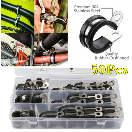 50x Insulated Rubber Lined Stainless Steel Clips Cable Mounting Hose Pipe Clamps
