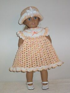 """American Girl Doll Clothes Crochet Peach Whit Dress & Hat Fits American Girl 18"""""""