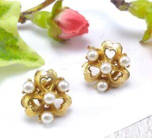 Vintage-Oro-Tono-comodidad-de-Presion-Mini-perlas-de-imitacion-pendientes-de-clip-coro