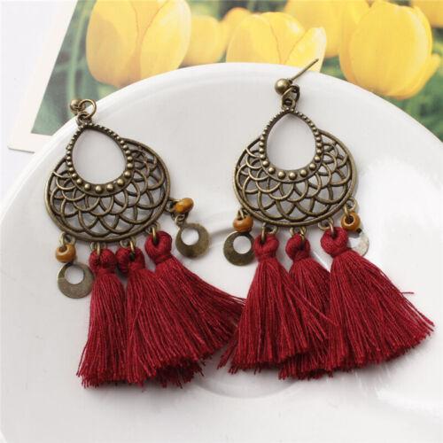 1 Pair Boho Women Vintage Tassel Earrings Ethnic Drop Dangle Fashion Jewelry NEW